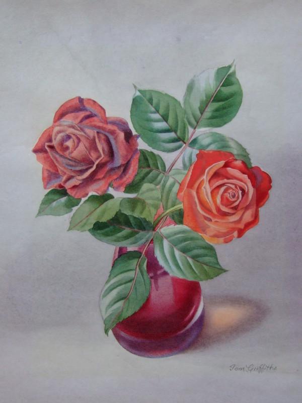 Roses in Red Vase