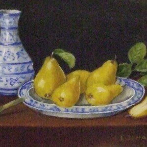 X (SOLD) Quince on Delft Plate