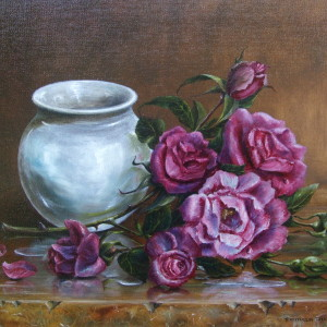 Pink Roses and White Pot