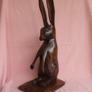 X (SOLD) Hare on Lookout (Walnut)