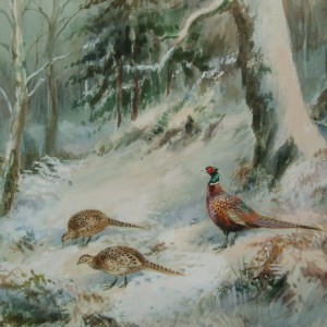 X (SOLD) Pheasants in Woodland