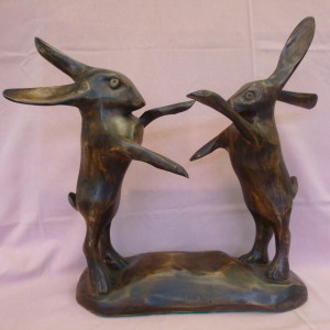 Hares boxing (Walnut)