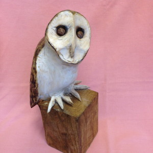 X (SOLD) Barn Owl on stump (Sycamore)