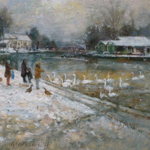 X (SOLD) Feeding the Swans at Thorpe Green