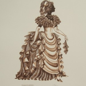 "Edwardian Elegance Silhouette  ""Lady with Handkerchief"" (Sepia)"