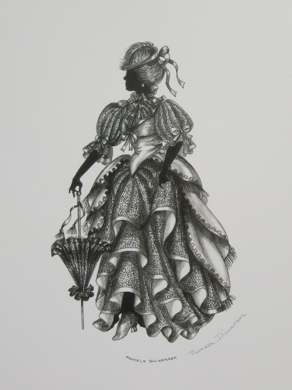 "Edwardian Elegance Silhouette ""Lady with Parasol"" (Black & White Oval)"