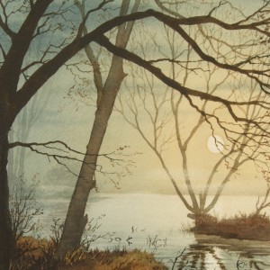 X (SOLD) Moonlight on Quiet Water, Earsham (1977)