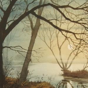 X (SOLD) Moonlight on Quiet Water, Earsham (1977)