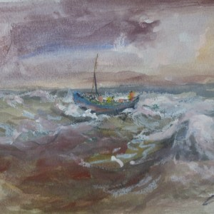 X32 (SOLD) Single Boat in Rough Seas
