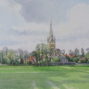 X09 (SOLD) Norwich Cathedral from the School Playing Fields, Tim Ball