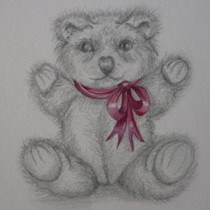 X01 (SOLD) Bear with pink ribbon