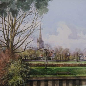X17 (SOLD) Norwich Cathedral from the River, Tim Ball