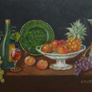 X (SOLD) Green Plate with Fruit