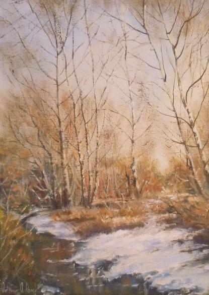 Winter Birches by a stream