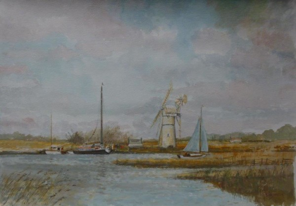 (unframed) White Mill, Thurne (with Wherry)