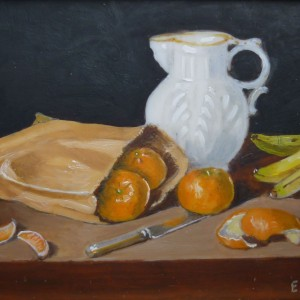 X (SOLD) Bag of Oranges, Bananas with White Jug