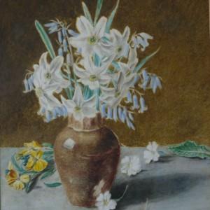 Spring Flowers in a Brown Vase
