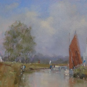 X (SOLD) The Red Sail (Moored Boats)