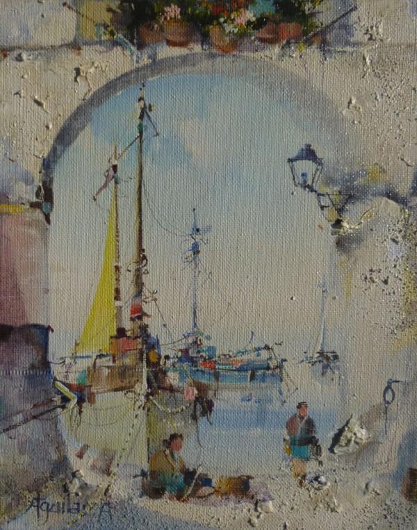 Through the Arch, Mediterranean Harbour Scene