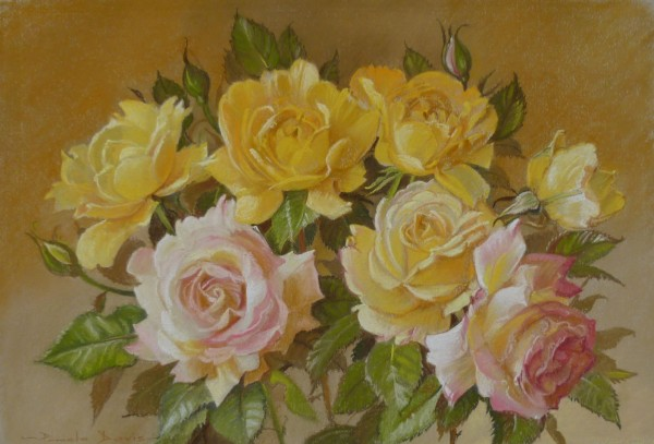 A bunch of Yellow and Pink Roses