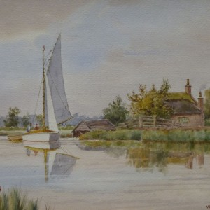 Nearing Acle Bridge (Christmas Inscription on painting 1946)