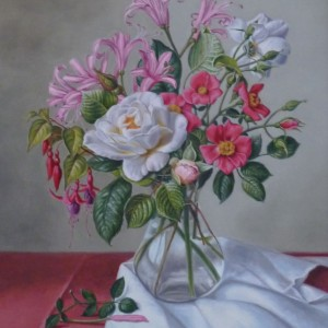 Roses, Nerines and Fuchsia