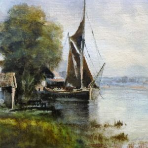 X (SOLD) Moored River Barge