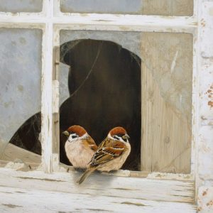 X (SOLD) Back to Back (Tree Sparrows)