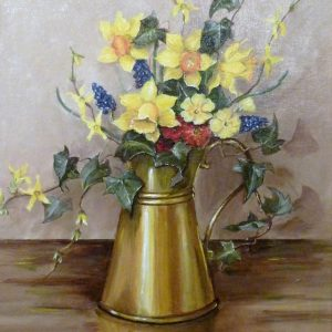 X (SOLD) Spring Flowers in a copper Jug 1979