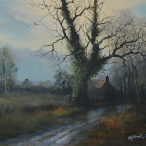"""X(SOLD) Glass Protected Oil – """"The Victorian Style Collection"""" – Winter in a South Norfolk Lane"""