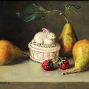 X09 (SOLD) Rabbit Pot with Pears
