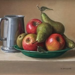Pears and Apples on a Green Plate