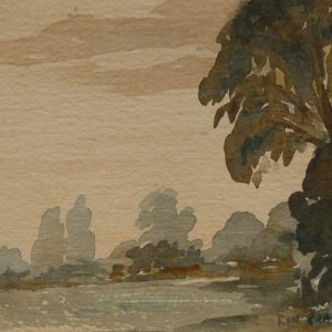 Sepia River Landscape