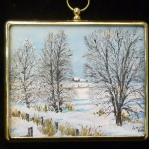 X(SOLD) Miniature – Norfolk Snow Scene