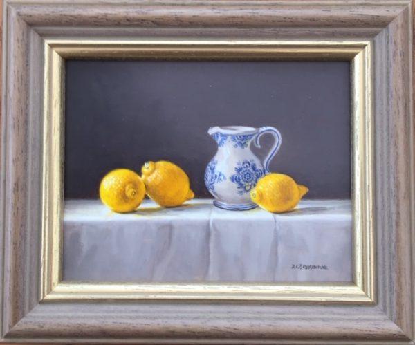 A Blue and White Jug with Lemons